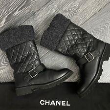 CHANEL 100% Authentic 🌈 1.900$ Cult Moto Winter CC Boots 37EU/ 7US Leather