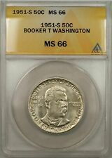 1951-S Booker T Washington Silver Half-Dollar Coin 50C ANACS MS-66 (9A)