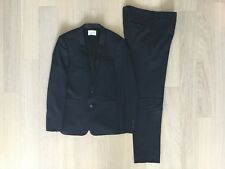 Sandro Paris Mens Wool Suit Jacket Blazer Blue Pattern Size 50 and Trousers 40