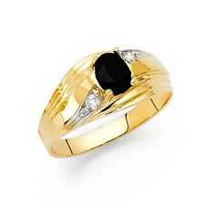 Black Cz Ring Mens Solid 14k Yellow Gold Band Wedding Oval Fashion Stylish