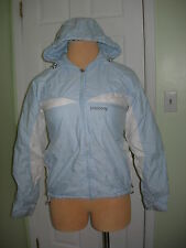 BILLABONG Misses/Jrs M Medium Blue & White Winter Coat w/Hood ~ GUC ~