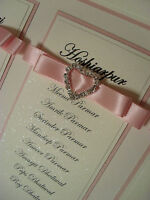 STUNNING PERSONALISED DIAMANTE HEART WEDDING SEATING PLAN TABLE PLANNER A2 & A3