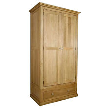 Solid Oak Double Wardrobe   Light Oak Wardrobe with Drawers   Furniture MB307