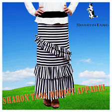 SHARON TANG Modest Apparel Long Stripe Double Layer & Ruffle Maxi Skirt 1X