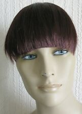cherry red clip in on fake fringe bangs hair extension fancy dress