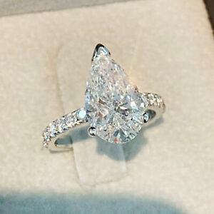 2.90Ct Pear Cut VVS1/D Diamond Solitaire Engagement Ring 14K White Gold Finish