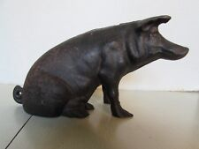 Antique Original Cast Iron Sitting Pig Still Bank