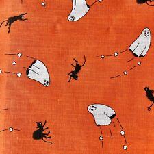 "Vintage Halloween Fabric Orange Cotton Black Cats Ghosts 39x47"" Novelty"