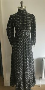 Very Early Laura Ashley Charcoal/Ecru Dress Made in Wales Edwardian Style, Small