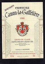 SAINT EMILION GCC ETIQUETTE CHATEAU CANON LA GAFFELIERE 1988 75 CL   §18/04/17§