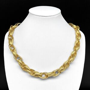 """Vintage Designer Signed MONET Gold Tone Textured Chain Link Chunky Necklace 18"""""""