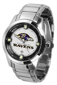 Baltimore Ravens Watch Mens Game Time Titan Stainless Date Wristwatch