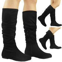 Womens Ladies Faux Suede Pixie Rouched Low Heel Flat Mid Calf Boots Shoes Size