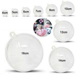 Clear Fillable Baubles Plastic Christmas Decoration Round Wedding Favours Balls
