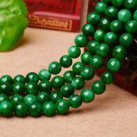"8/10/12mm Genuine Natural Green Jadeite Jade Round Gemstone Loose Beads 15"" AAA"