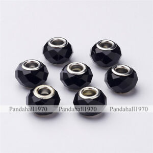 100 Pcs Black Large Hole Brass Core in Silver Color Glass European Beads 14x9mm