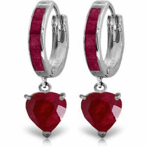 Genuine Princess Cut Rubies Huggie Hoops Ruby Heart Dangles Earrings in 14K Gold