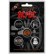 AC/DC pack of 5 round pin badges (py)