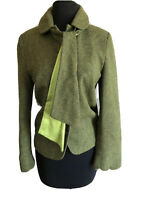 Sara Berman Wool/ Silk Coat Green Scalloped Sleeves Neck Tie Women's Button Up M