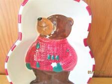 1999 ST. NICHOLAS SQUARE BROWN BEAR WITH SNOWFLAKES CHRISTMAS BOWL