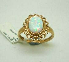 New 9ct Rose Gold Hallmarked C.Opal Floral Design Ring Size Q 1/2 Free Shipping