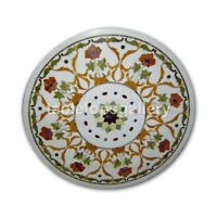 """20"""" Round Marble Top Coffee Table Precious Floral Marquetry Inlay Decorate W319"""