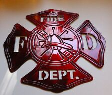 "Firefighters Maltese Cross Metal Wall Art Metallic Red 12"" x 13"""