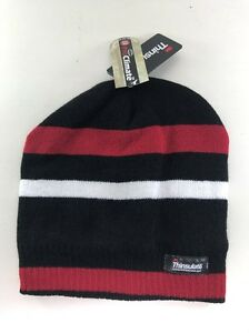 Thinsulate Lined Winter Beanie, Black / Red / White Stripes, BNWT