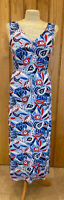 marks and spencer Collection Holiday Printed maxi dress blue Sz 8