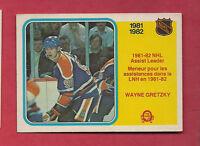 1982-83 OPC # 240  OILERS WAYNE GRETZKY ASSIST  LEADERS   CARD