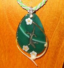 Pendant Stone & Shell SHENSHIN hand made the Mistress of Copper Mountain Lizard