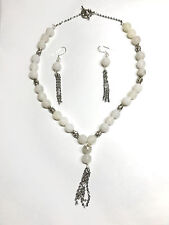 Semiprecious Stone Necklace Set White Frosted Jasper Stone - One of a Kind!!!