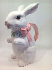 Vintage OCI Fitz & Floyd 1 Quart Rabbit Pitcher Pink Bow & Flower Necklace