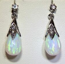 9ct White Gold White Opal & Diamond Pear Cabochon  Drop Dangling Stud Earrings
