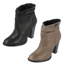 Ladies Black/Grey Leather Rouched Harley Davidson Heeled Ankle Boots Stonebrook