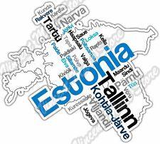 "Estonia Tallin Tartu Country Map Word Cloud Bumper Vinyl Sticker Decal 5""X4"""