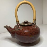 Artesian Style Red Teapot With Wooden Handle Hand Made