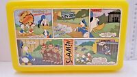 Disney Yellow Plastic Lunch box COOK'D UP COMICS Donald Duck as Monkey's Uncle