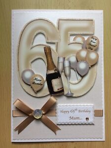 Luxury Hand-Made 65th Birthday Card-Can Be Personalised-Any Relative/Friend