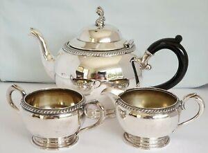 Edwardian SilverPlate Tea Set Oneida Silversmiths Teapot, Milk Jug & Sugar Bowl.