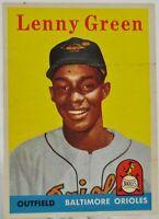1958 Topps Baseball Card, #471 Lenny Green, Baltimore Orioles - EX-MT