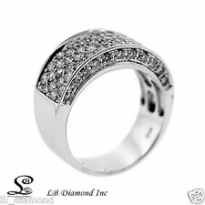 Daimond Pave band Statement Ring 1.98ct Round Brilliand Diamonds 18k White Gold