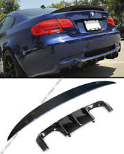 V CARBON FIBER REAR BUMPER DIFFUSER+ PERFORMANCE TRUNK SPOILER FOR BMW E92 M3