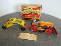 MARX 1940's MECHANICAL TRACTOR W/ EARTH GRADER WIND-UP TOY W/ ORIGINAL BOX WORKS