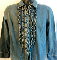 ST Johns Bay Dark Wash Denim Long Sleeve Shirt Womens Size M Button Down Ruffles
