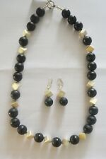Black Onyx Necklace and Silver Beads with Earrings 925 Sterling Silver.