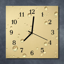 Glass Wall Clock Kitchen Clocks 30x30 cm silent Drops Brown