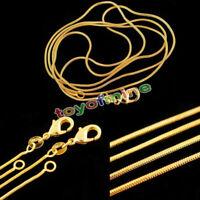 1mm Schlange Ketten 18K Gold Plated Halskette Kette 16-30inch Schmuck MIDE