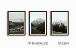 Mountain Forest Prints, Set of 3 Green Foggy Woods Wall Art Prints, Misty Trees