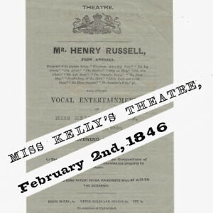1846 Miss Kelly's Theatre programme Henry Russell composer Royalty Theatre